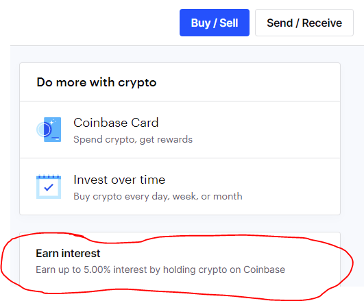 earn interest with coinbase